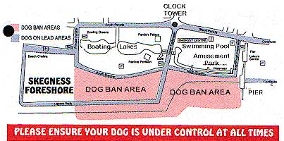 Map of restricted areas for dogs in Skegness.